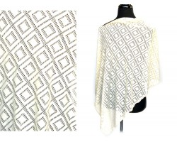 Beige Open Cut In Squares Knit Side Triangle Poncho