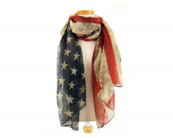 Old Red White Blue American Flag Oblong Scarf