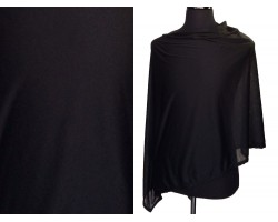 Black Jersey Knit Side Triangle Poncho