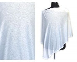 White Jersey Knit Side Triangle Poncho