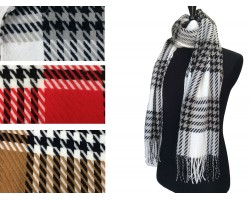 Assorted Houndstooth Check Fringe Oblong Scarf 3pk