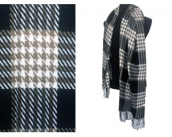 Black White Brown Houndstooth Check Fringe Oblong Scarf