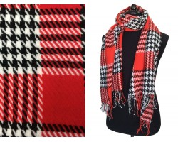 Red Black White Houndstooth Check Fringe Oblong Scarf