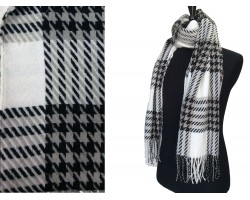 White Black Houndstooth Check Fringe Oblong Scarf