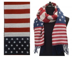 Red White Blue Stars Stripes Fringe Oblong Scarf