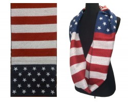 Red White Blue Star Stripe Knit Infinity Scarf