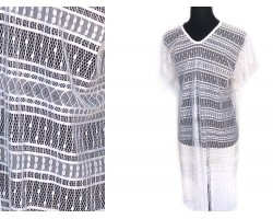 White Open Weave Lacy Fringed Poncho