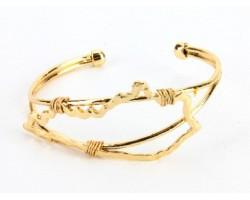 Gold Kentucky State Map Wire Wrap Cuff Bracelet