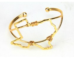 Gold Texas State Map Wire Wrap Cuff Bracelet