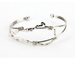 Silver Kentucky State Map Wire Wrap Cuff Bracelet