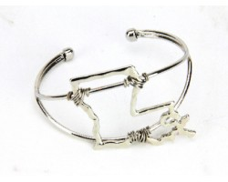SIlver Louisiana State Map Wire Wrap Cuff Bracelet