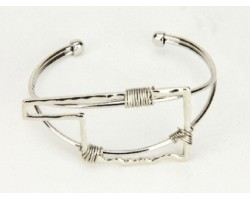 Silver Oklahoma State Map Wire Wrap Cuff Bracelet