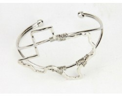 Silver Texas State Map Wire Wrap Cuff Bracelet