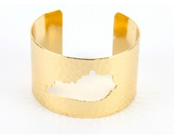 Gold Open Cut Kentucky State Map Cuff Bracelet