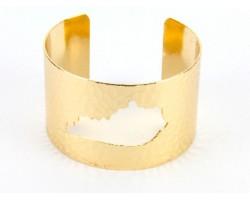 Gold Open Cut Kentucky State Map Cuff Bracelet