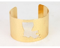 Gold Open Cut Louisiana State Map Cuff Bracelet