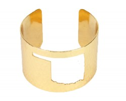 Gold Open Cut Oklahoma State Map Cuff Bracelet