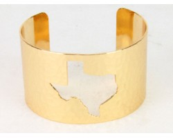 Gold Open Cut Texas State Map Cuff Bracelet