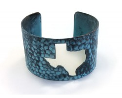 Patina Open Cut Texas State Map Cuff Bracelet