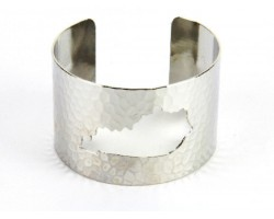 Silver Open Cut Kentucky State Map Cuff Bracelet