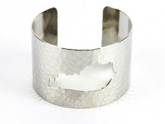 Silver Open Cut Kentucky State Map Cuff Bracelet