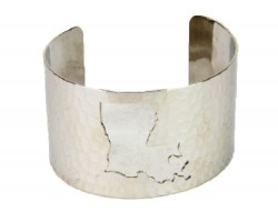 Silver Open Cut Louisiana State Map Cuff Bracelet
