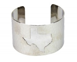 Silver Open Cut Texas State Map Cuff Bracelet