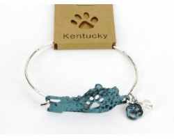 Patina Kentucky State Map Wire Bracelet