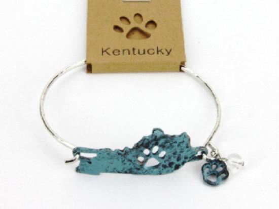 Patina Kentucky State Map Wire Bracelet