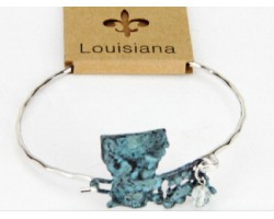 Patina Louisiana State Map Wire Bracelet