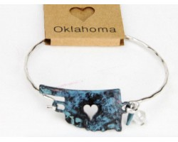 Patina Oklahoma State Map Wire Bracelet