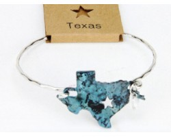 Patina Texas State Map Wire Bracelet