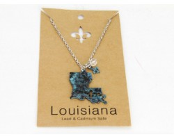 Patina Louisiana State Map Chain Necklace