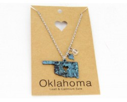 Patina Oklahoma State Map Chain Necklace