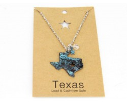 Patina Texas State Map Chain Necklace