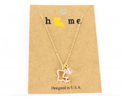 Gold Crystal Louisiana State Map Chain Necklace