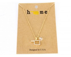 Gold Crystal Oklahoma State Map Chain Necklace