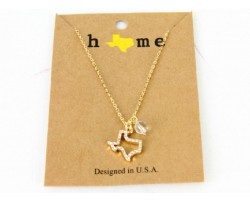 Gold Crystal Texas State Map Chain Necklace