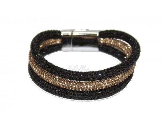 Black Gold Crystal Rope Magnetic Bracelet