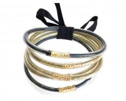 Black Gold Sparkle Rope Bracelet Set