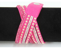 Hot Pink Leather Crystal Wrap Bracelet