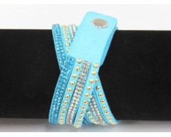 Light Blue Leather Crystal Wrap Bracelet