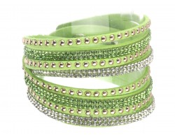 Lime Leather Crystal Wrap Bracelet