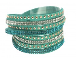 Turquoise Leather Crystal Wrap Bracelet