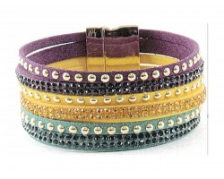 Mardi Gras Color  Leather Crystal Bracelet