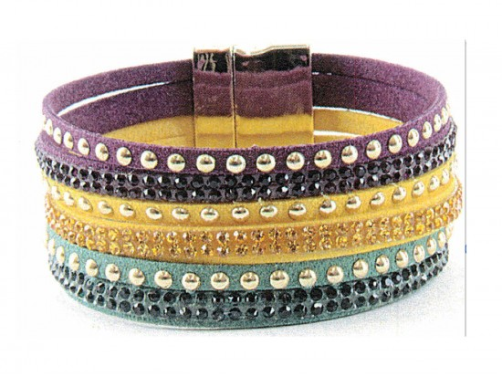 Mardi Gras Color  Leather Crystal Bracelet