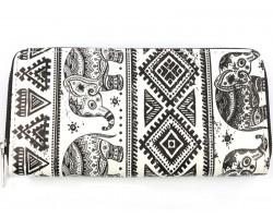 Black White Elephant Boho Flat Wallet