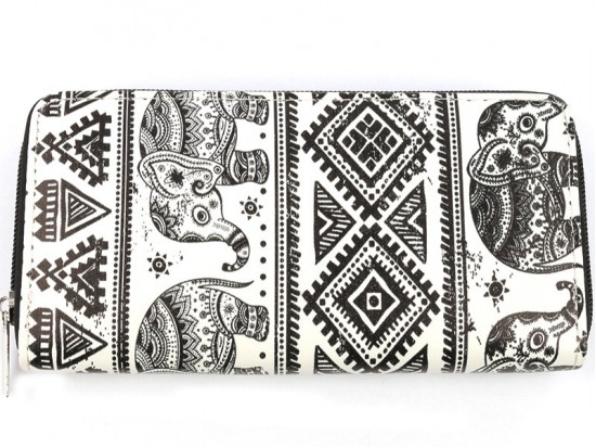 Black White Elephant Boho Flat Wallet