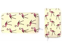Pink Flamingo Beige Flat Wallet