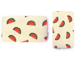 Red Watermelon Beige Flat Wallet